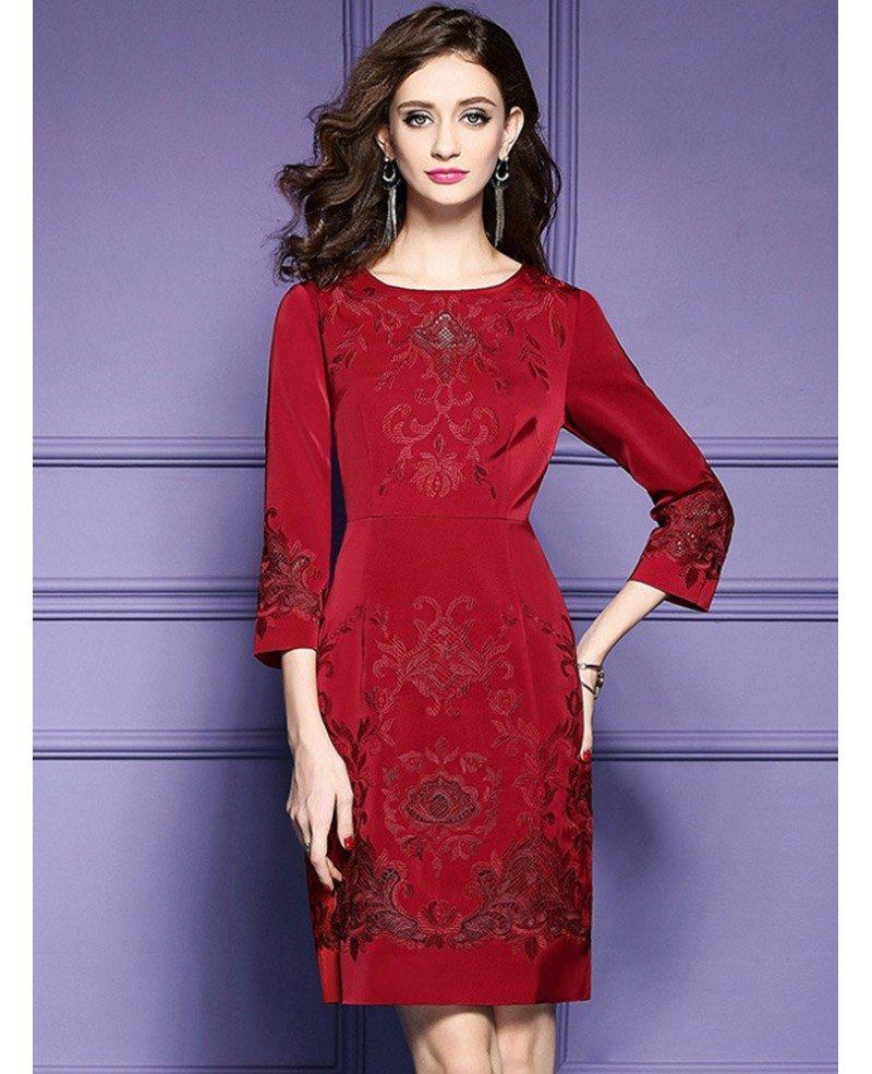 Burgundy Formal Embroidered Short Dress For Wedding Guest