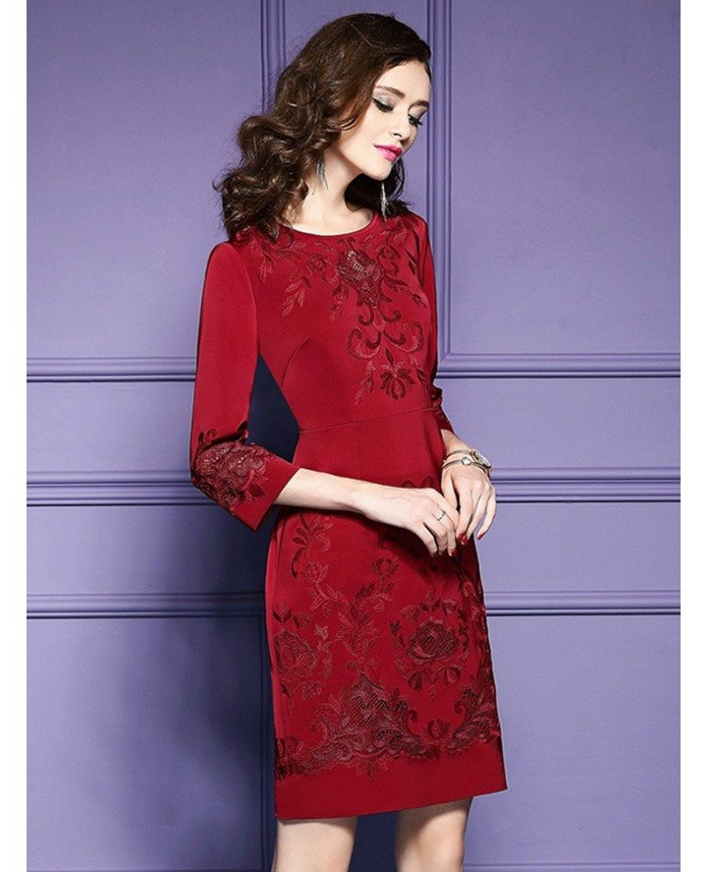 Burgundy Formal Embroidered Short Dress For Wedding Guest