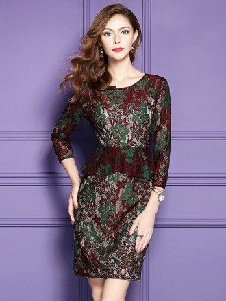 Floral Bodycon Cocktail Party Dress Lace Sleeves For Wedding Guests