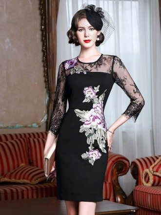 Sheath Black Cocktail Dress With Embroidery Wedding Guest Dress With Sleeves
