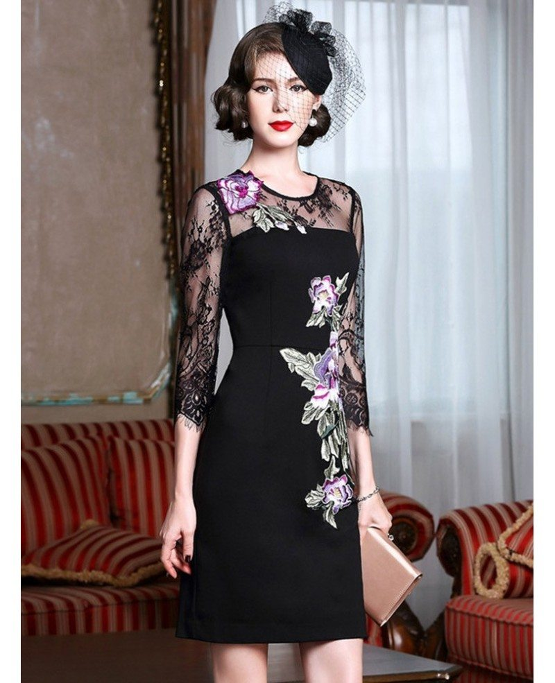 Sheath Black Cocktail Dress With Embroidery Wedding Guest