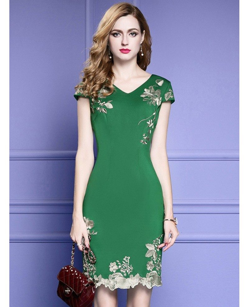 Beautiful Green Bodycon Cocktail Dress For Wedding Guest With Cap Sleeves Embroidery  ...