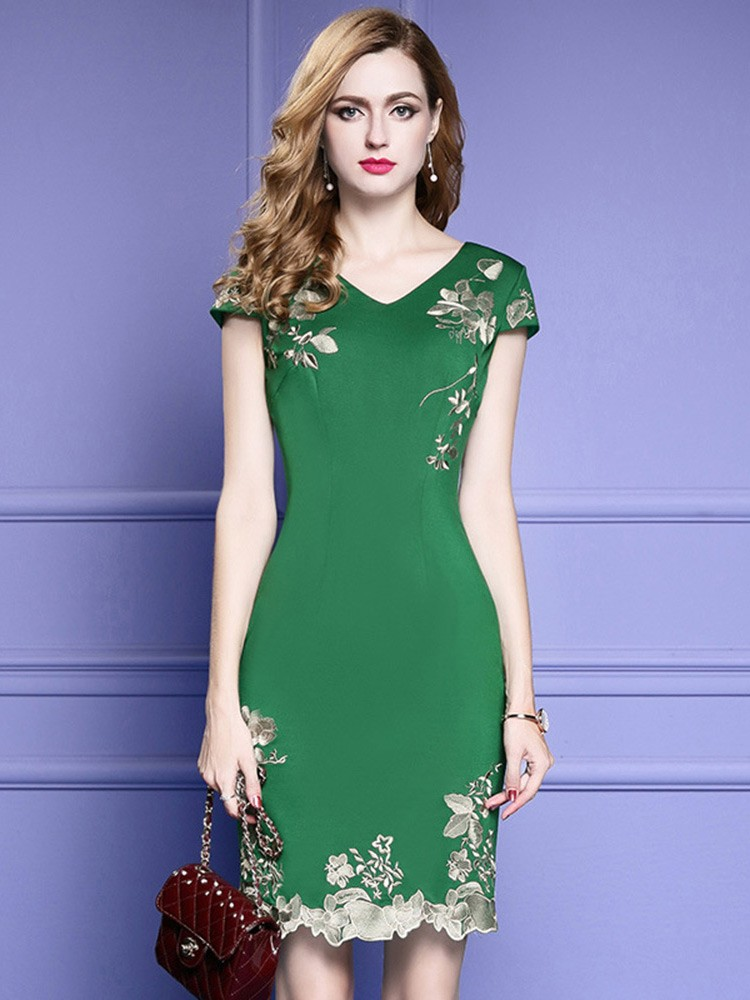 Green Bodycon Cocktail Dress For Wedding Guest With Cap