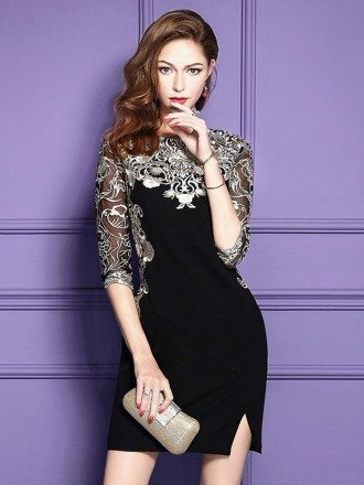 Chic Black Embroidered Wedding Guest Dress With Half Sleeves Side Slit