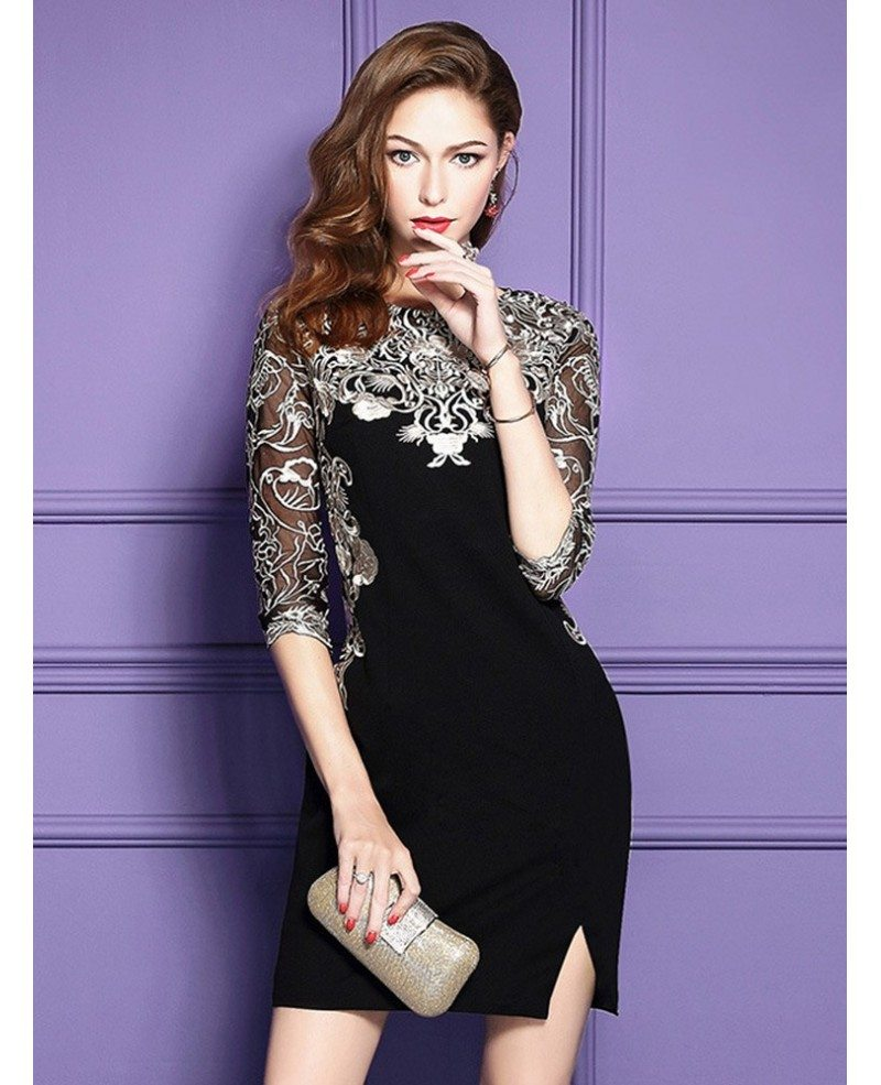 Chic Black Embroidered Wedding Guest Dress With Half Sleeves Side ...