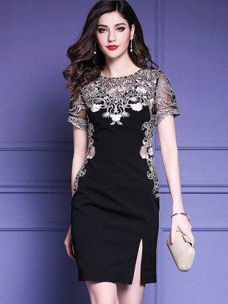 Little Black Embroidered Short Sleeve Dress For Formal Weddings