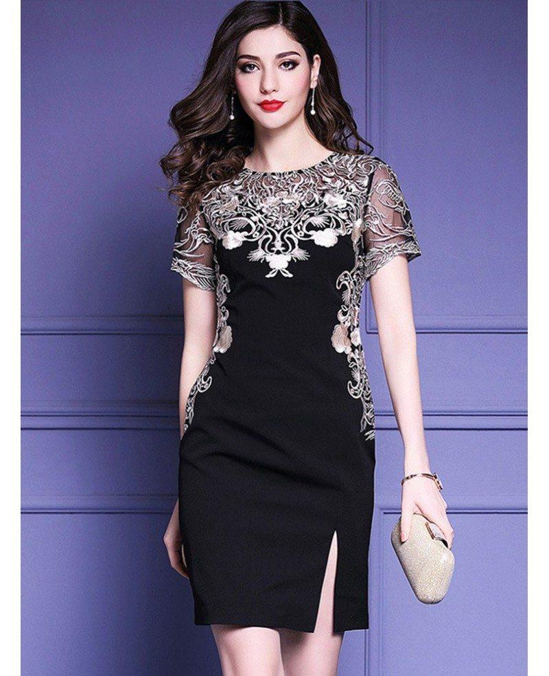 Little Black Embroidered Short Sleeve Dress For Formal Weddings ...
