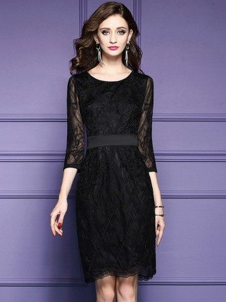 Luxe Black Lace Sleeve Short Wedding Guest Dress Black Tie For Weddings
