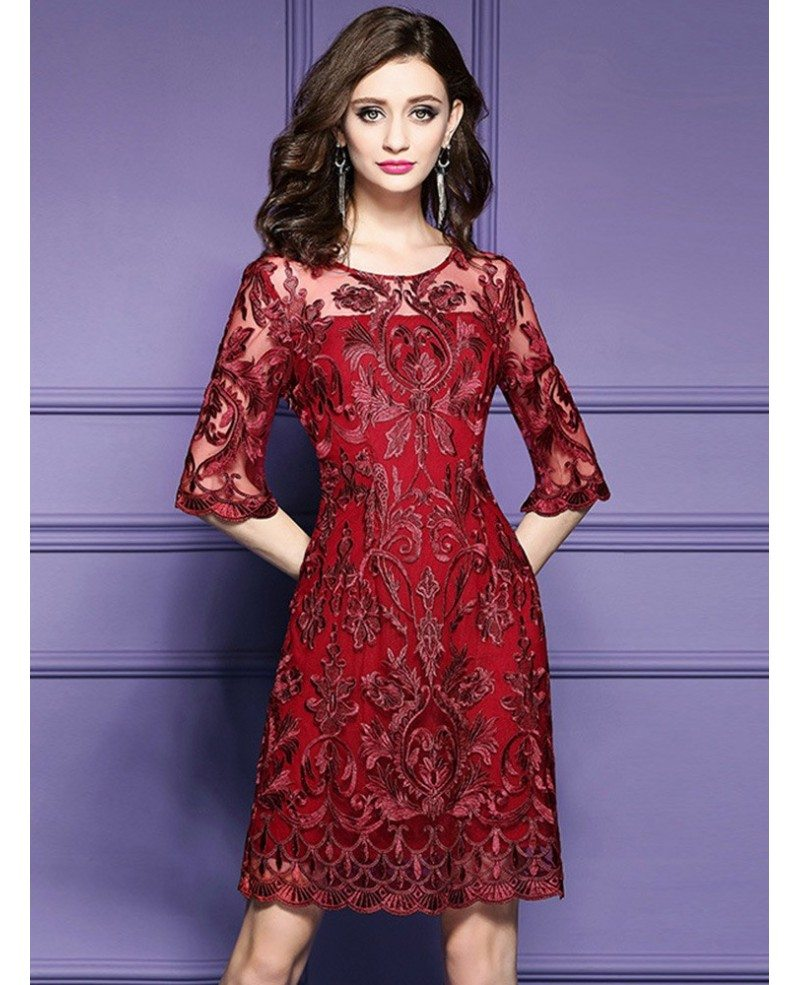 Elegant Burgundy Short Wedding Guest Dress For Over 40,50