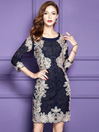 Luxury Navy Blue Embroidered Cocktail Wedding Party Dress With 3/4 Sleeves