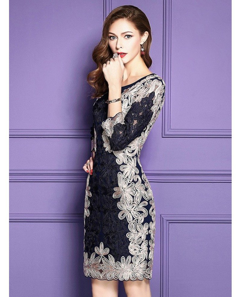 Luxury navy blue embroidered cocktail wedding party dress for 3 4 sleeve wedding guest dress