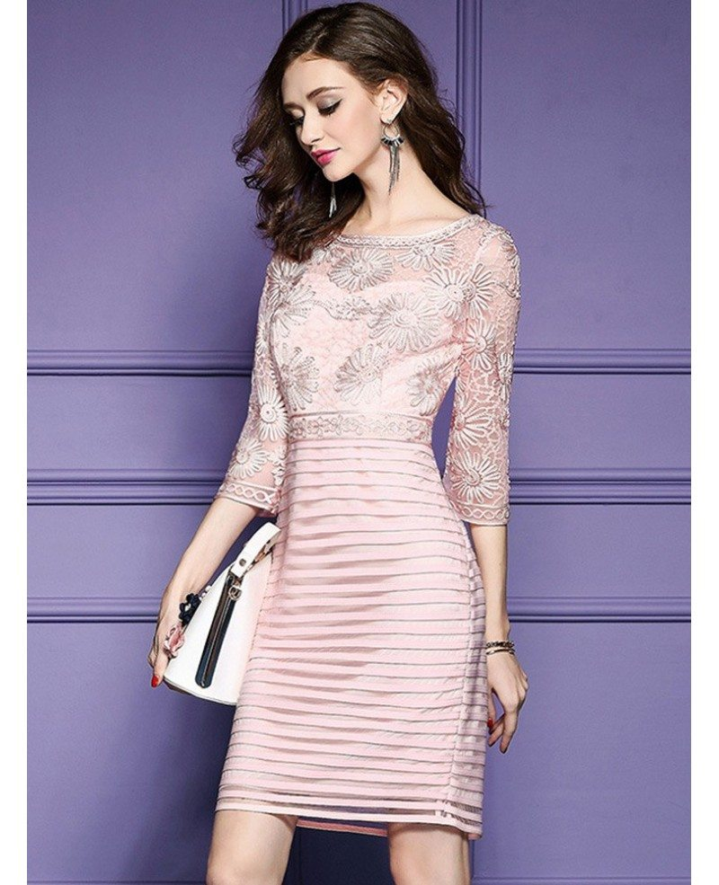Pink Embroidered 3/4 Sleeve Party Dress For Wedding Guests