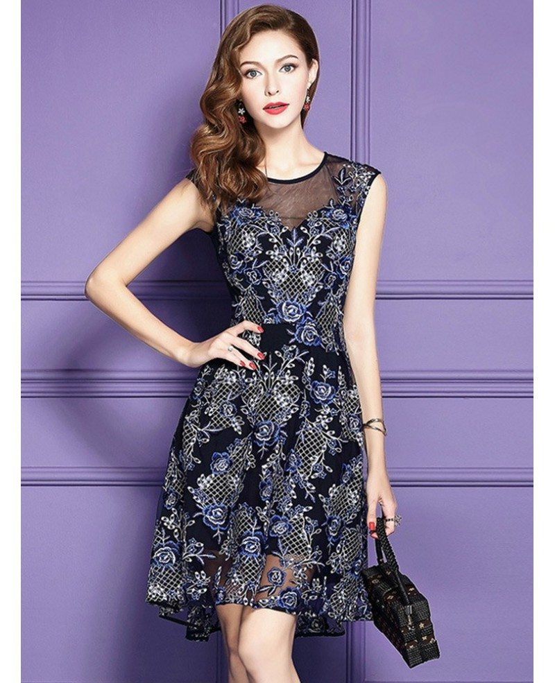 Lace Wedding Guest Dresses: Chic High Low Blue Lace Wedding Guest Dress Beach Weddings