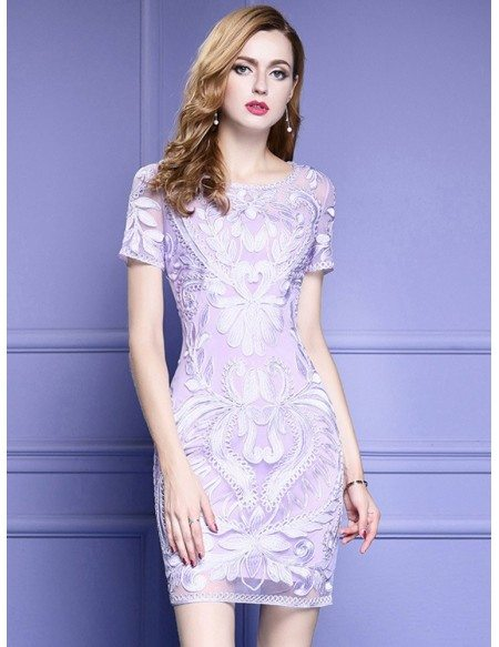Merveilleux Quick Ship Light Purple Short Sleeve Bodycon Cocktail Dress For Wedding  With Embroidery