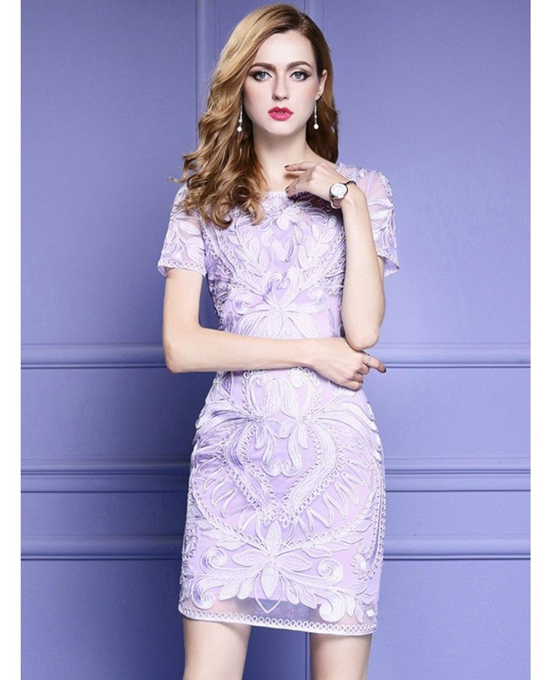 Light Purple Short Sleeve Bodycon Cocktail Dress For Wedding With Embroidery
