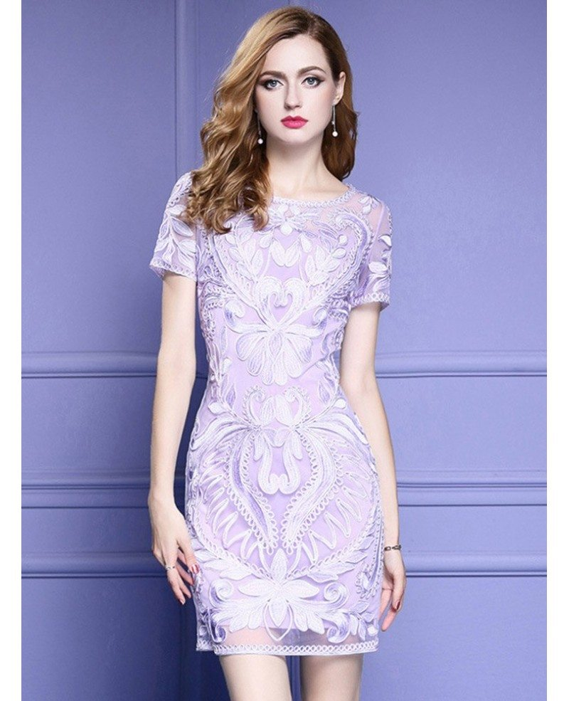 Light purple short sleeve bodycon cocktail dress for for Cocktail dress with sleeves for wedding