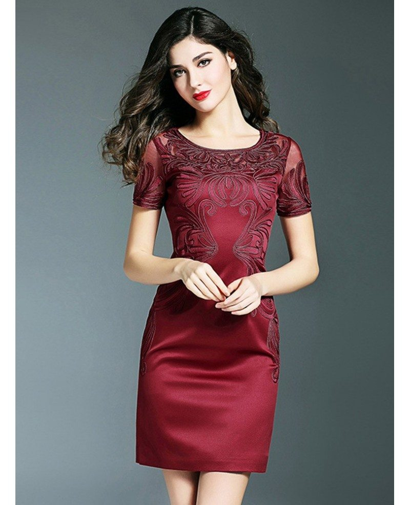 Simple Burgundy Cocktail Wedding Party Dress With Sleeves Embroidery ...