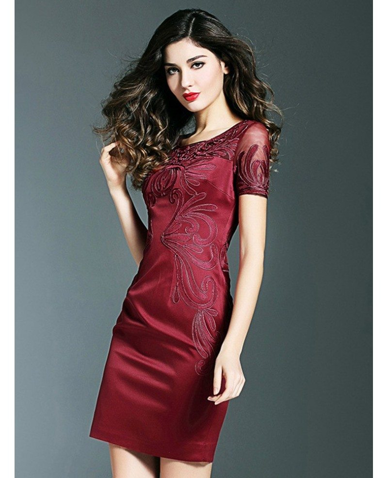 Simple burgundy cocktail wedding party dress with sleeves for Cocktail dress with sleeves for wedding