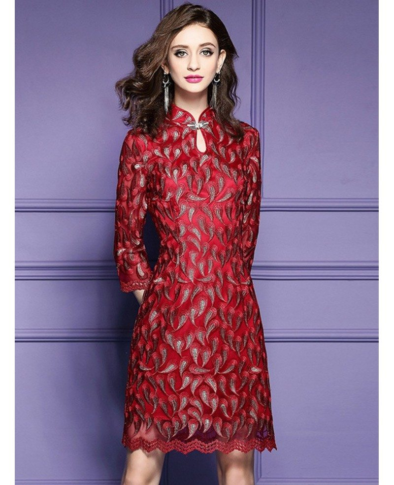 Retro High Neck Qipao Style Dress For Wedding Guest Over ...