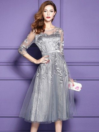 Silver Lace Midi Party Wedding Guest Dress For Fall Weddings With Sleeves