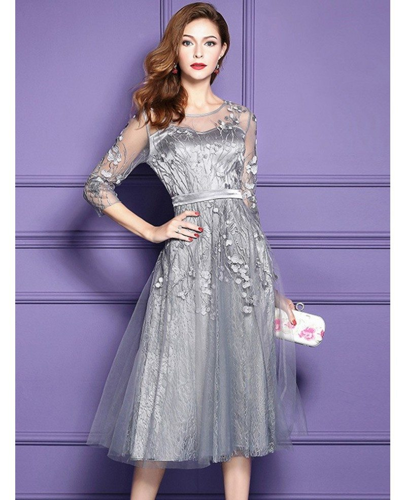Silver Lace Midi Party Wedding Guest Dress For Fall Weddings With ...