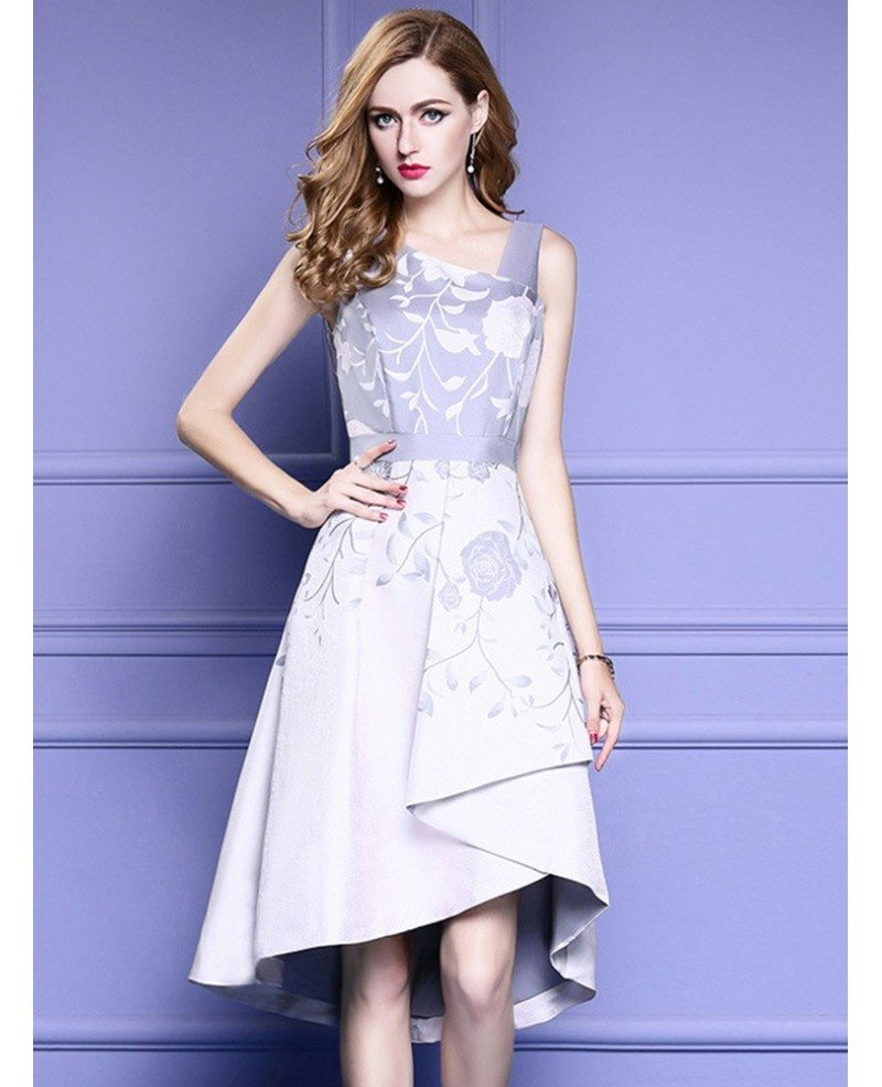 High Low Chic Grey Party Dress For Formal Weddings One