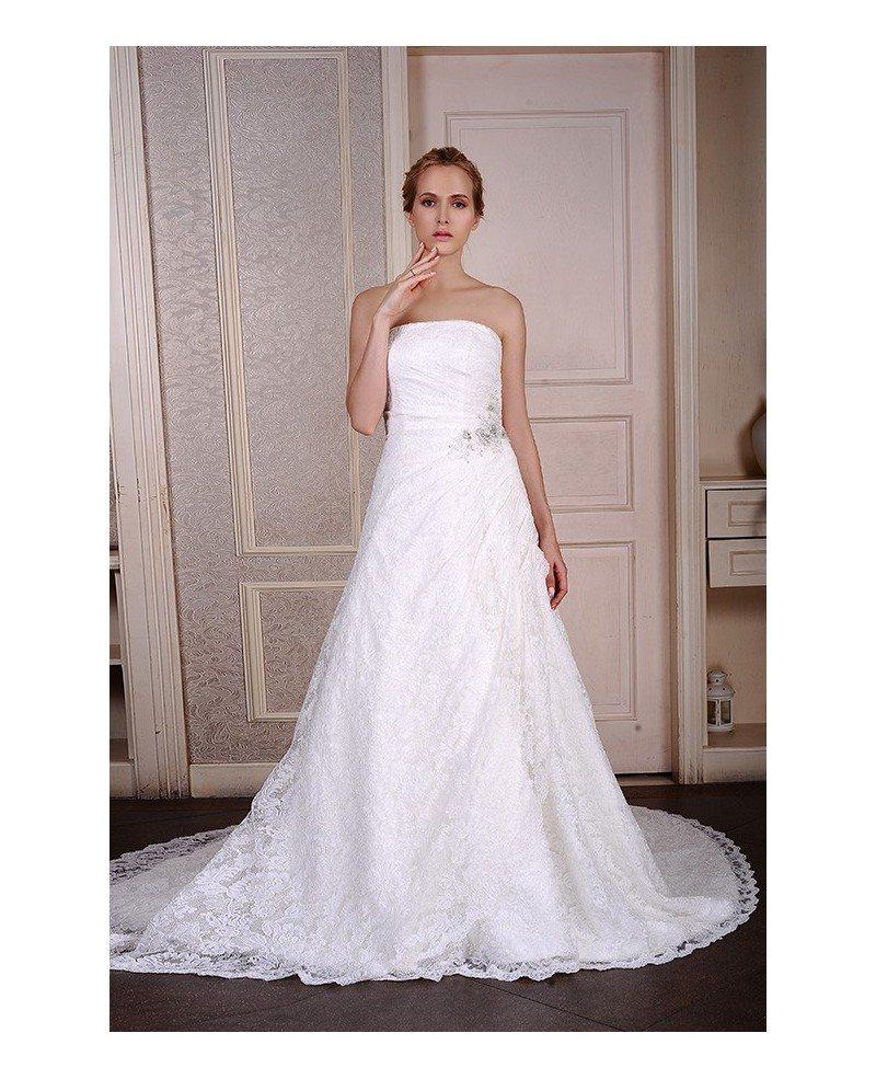 Ball-Gown Strapless Court Train Satin Tulle Wedding Dress