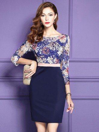 Blue Bodycon Short Party Dress Wedding Guests With 3/4 Sleeves
