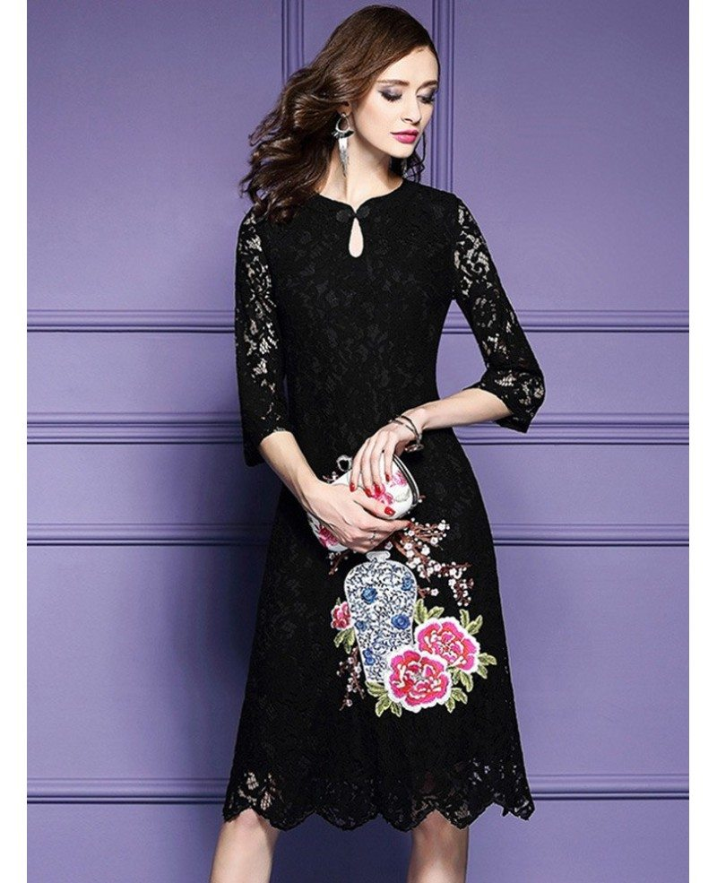 Red Lace Embroidery Wedding Guest Dress For Fall With Lace Sleeves ...