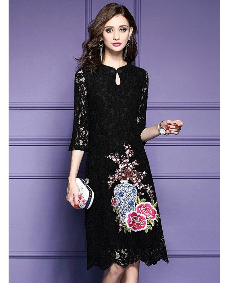 Red lace embroidery wedding guest dress for fall with lace for Wedding guest lace dresses
