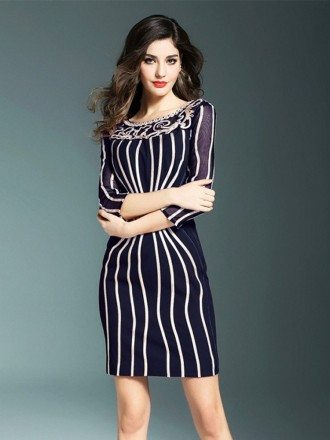 Chic Striped Bodycon Short Dress With Sleeves For Wedding Guests