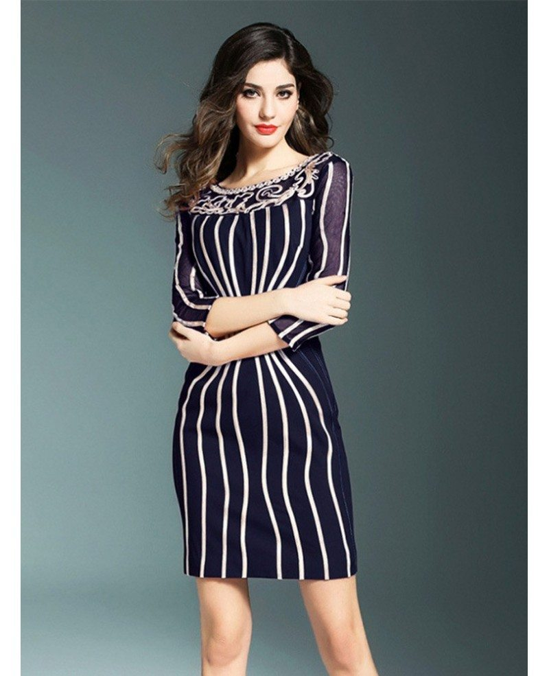 Chic Striped Bodycon Short Dress With Sleeves For Wedding Guests ...