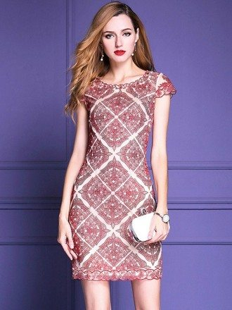 Unique Burgundy Embroidery Cocktail Dress For Weddings Cap Sleeves