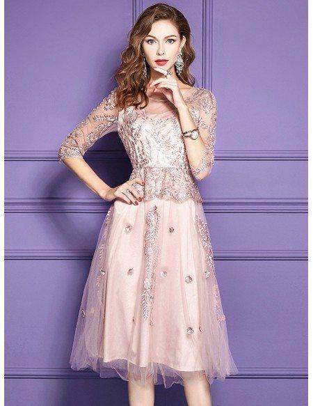 Formal Dresses Knee Length With Sleeves Eligent Prom Dresses