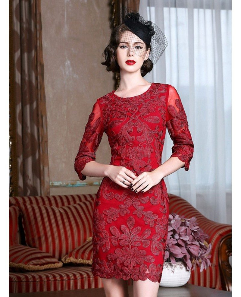Classy Burgundy Cocktail Dress For Weddings Women Over 40,50 With ...