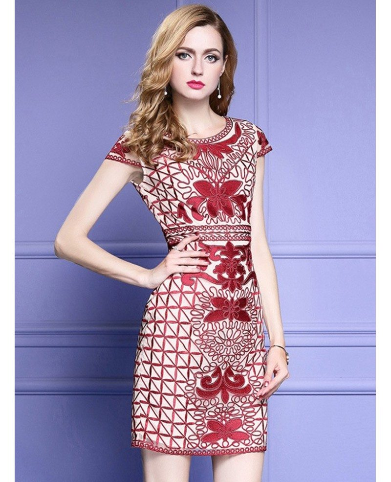 Unique Embroidery Pattern Bodycon Wedding Guest Dress With