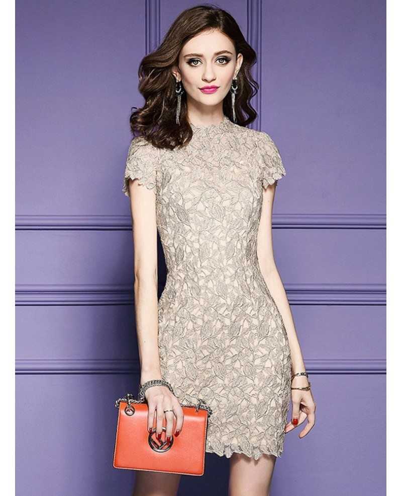 Luxury lace sheath cocktail dress high neck with cap sleeves zl8039 luxury lace sheath cocktail dress high neck with cap sleeves ombrellifo Images