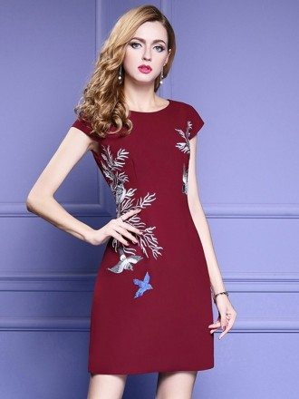 Cap Sleeve Short Bodycon Dress With Embroidery