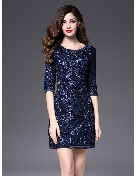Quick Ship Short Fitted Wedding Guest Dress Navy Blue With Sleeves Luxury Embroidery