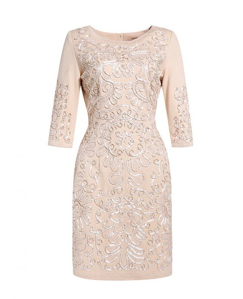 Short fitted wedding guest dress navy blue with sleeves for Short fitted wedding dresses