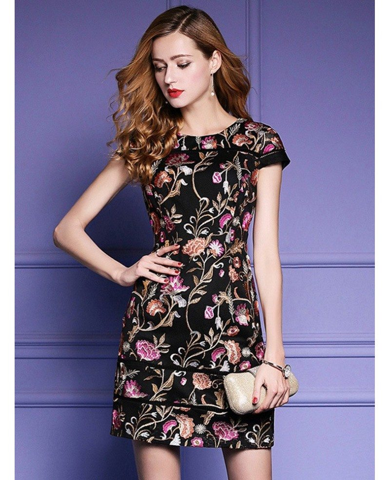 black embroidered floral bodycon dress for wedding guest