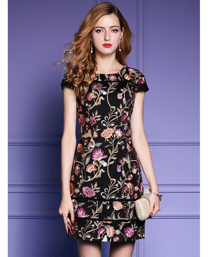 Black embroidered floral bodycon dress for wedding guest for Black floral dress to a wedding