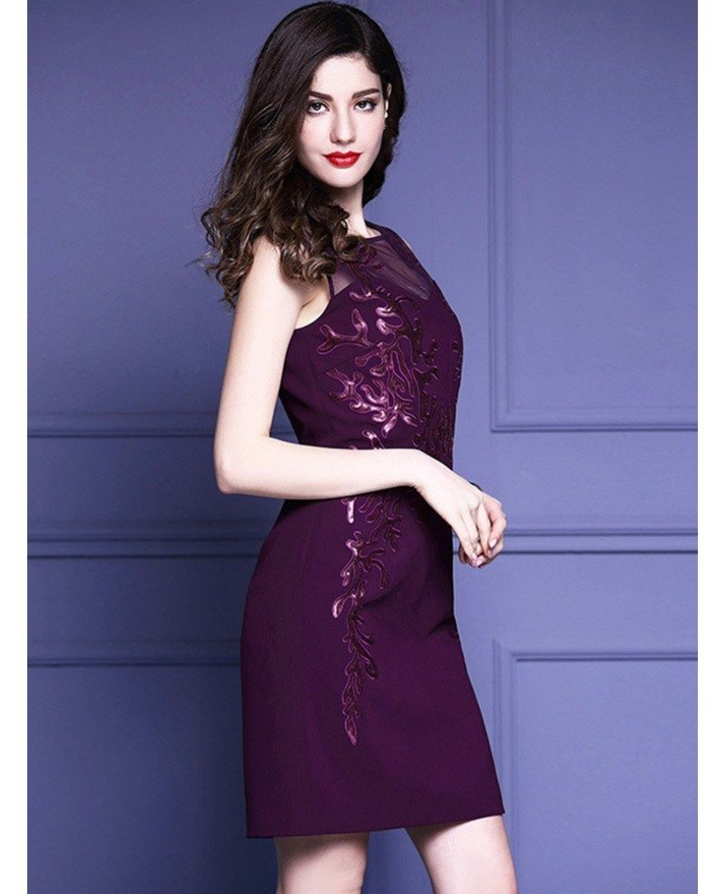 Purple embroidery fitted cocktail dress sleeveless for for Purple dresses for wedding guests