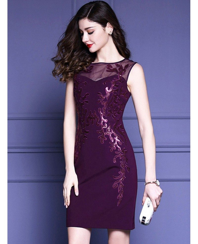 Purple embroidery fitted cocktail dress sleeveless for wedding guest purple embroidery fitted cocktail dress sleeveless for wedding guest ombrellifo Gallery