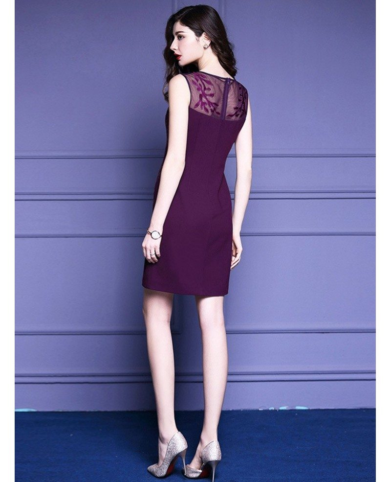 Purple Embroidery Fitted Cocktail Dress Sleeveless For