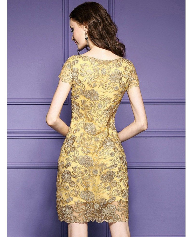 Luxury Wedding Reception With A Perfect And Awesome: Luxury Gold Embroidery Sheath Party Dress For Wedding