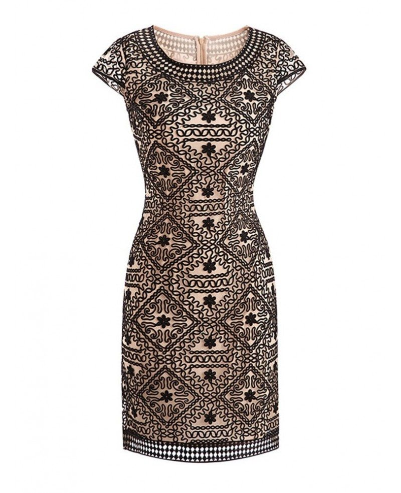 High end embroidery bodycon cocktail dress with sleeves for High end wedding dress