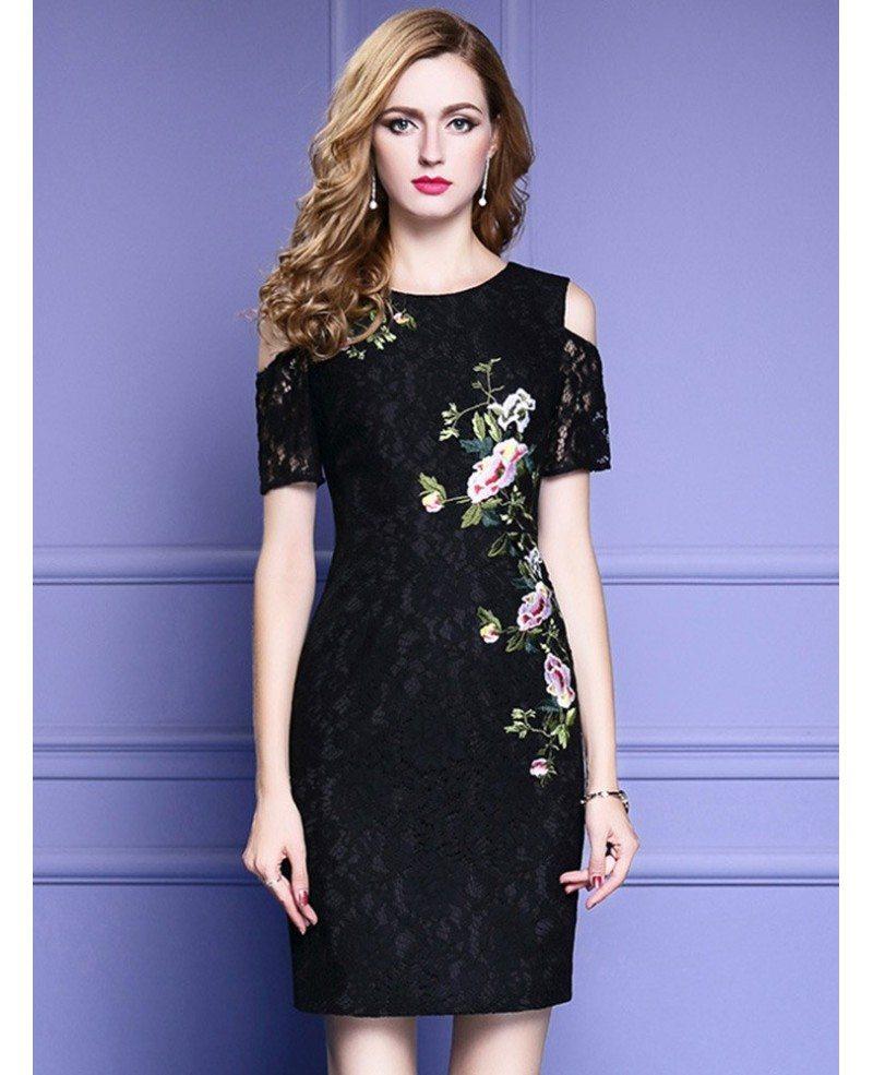 Lace Wedding Guest Dresses: Chic Little Black Lace Party Dress With Cold Shoulder