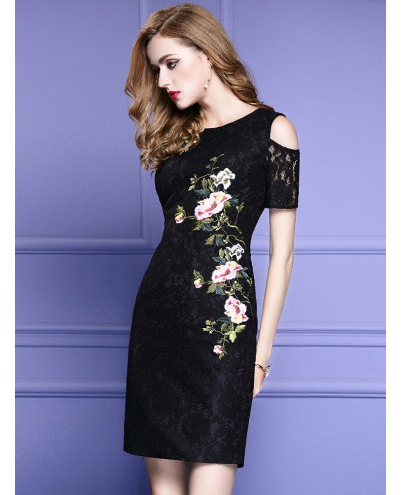 Chic Little Black Lace Party Dress With Cold Shoulder