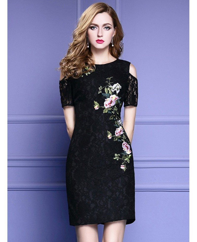 Chic little black lace party dress with cold shoulder for Little black wedding dress